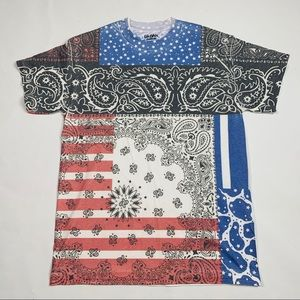 American Flag Paisley Print All Over Graphic Tee M